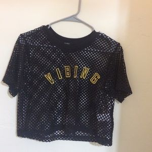 Black mesh crop top