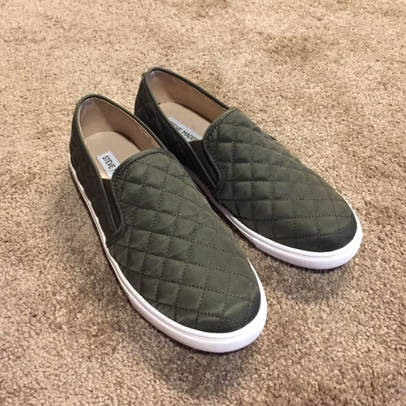 Steve Madden olive green slip on sneakers