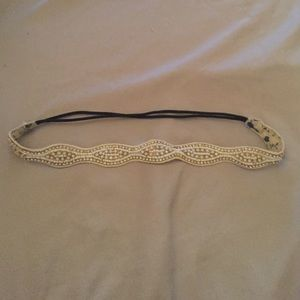 Beaded gold and white head band