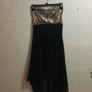 Black Sequin High Low Dress