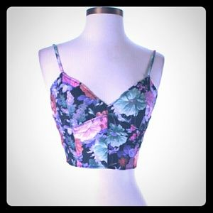 NWT LF Paper Heart Floral Tank Crop Top