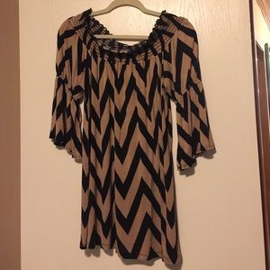 Gold and black chevron dress