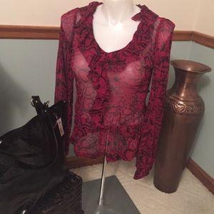 Karen Kane Tops - Karen Kane red sexy sheer top XL