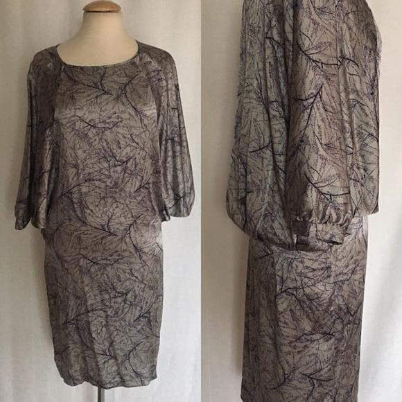 e0933c5874 Anthropologie gray silk branch dress by Rutzou