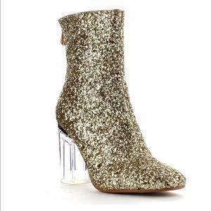 Cape Robbin Shoes - Metallic Glitter Ankle Booties Clear Glass Heel