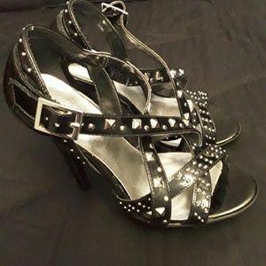 3C4G Shoes - Black patent studded sandal