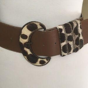 Zara Accessories - Beautiful wide tan leather and leopard belt