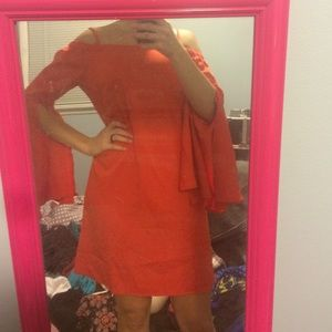 Orange cold should dress with flutter sleeve