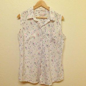 Merona nautical sleeveless blouse sz L