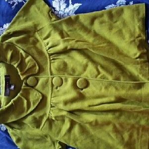 Fever London Sweaters - Green cropped peter pan collar cardigan
