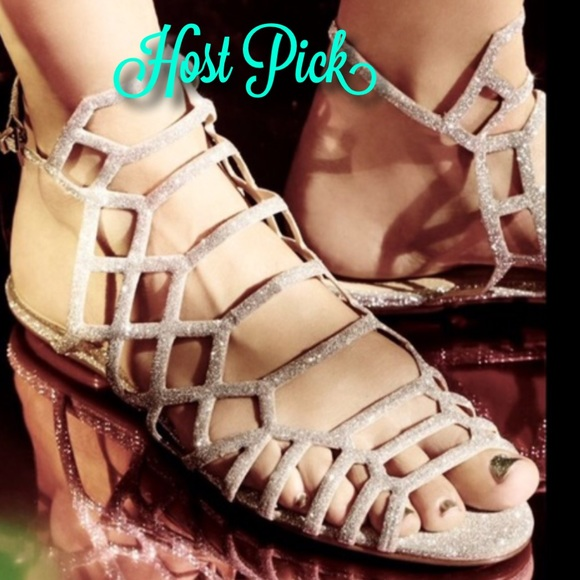 b4155f7da6b Free People X Schutz tan glitter Strappy Sandals