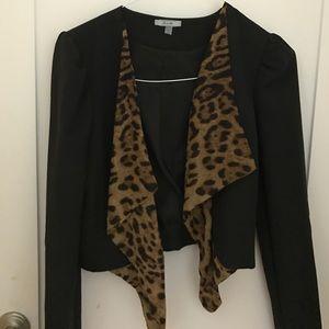 Drape front Leopard print blazer