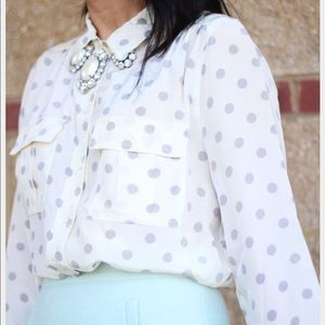 J. Crew Tops - {j.crew} silk Blythe shirt in grey polka dot