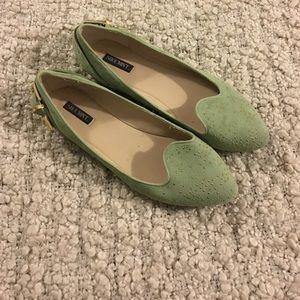Shoemint Shoes - Shoemint Green Studded Pointed Toe ballet Flats