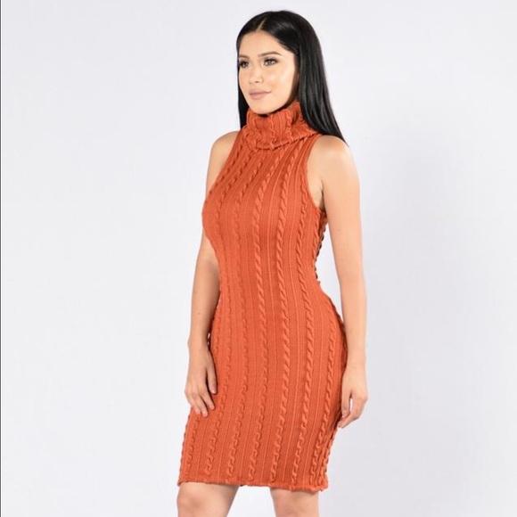 0cecdb8c2f3 Fashion Nova Burnt Orange Sweater Dress