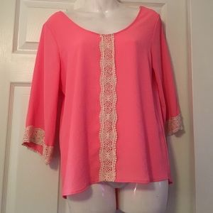 Lace trim pink blouse boutique