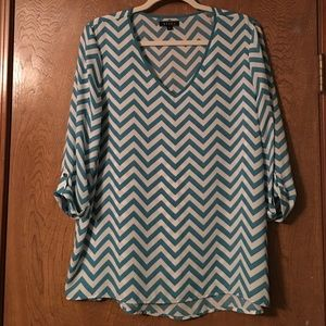 Tiara Tops - Teal chevron blouse