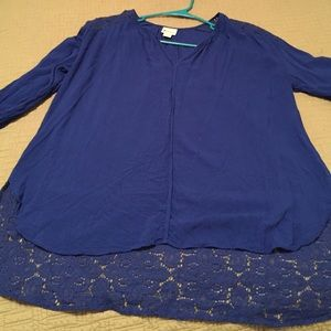 Vivid blue tunic top with lace details