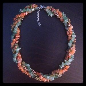 Green and orange stone bead necklace