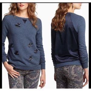 LEIFNOTES Anthro Sequin Bird Sweatshirt Top