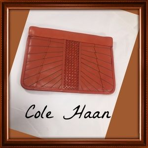 Cole Haan Handbags - COLE HAAN Braided &Striped Pumpkin Leather Clutch