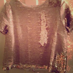 NWT Ark&Co Rose Gold Sequin Top