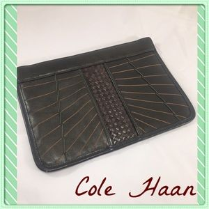 Cole Haan Handbags - COLE HAAN Dk Green Braided& Striped Leather Clutch