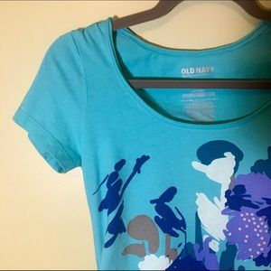 Old Navy Aqua Blue Floral Maternity Tee Shirt