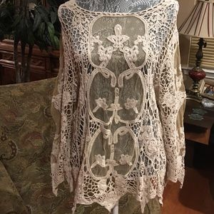Origami by Vivian Tops - Unique Ivory Cotton Lace Knit Top-Sheer Middle-S/M