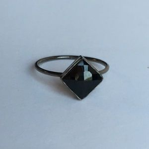 Square Black Onyx Oxidized Silver Midi Ring