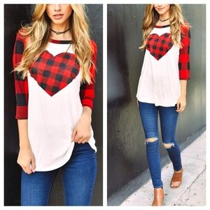 Tops - LAST ONE❗️❗️❗️Valentine's 3/4 sleeve top