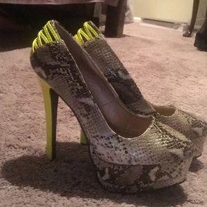Snakeskin neon embellished heels