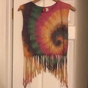 Divided by H&M Tie Dye Fringe Beaded Crop Top