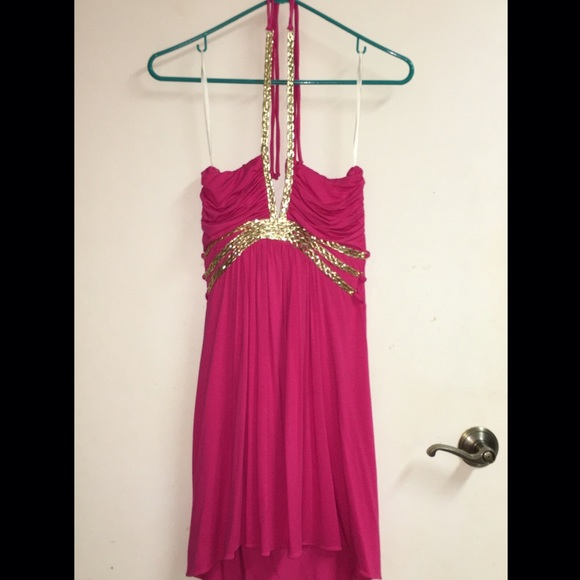 Sky - Sky hot pink halter dress w/gold straps - worn 1x from ...