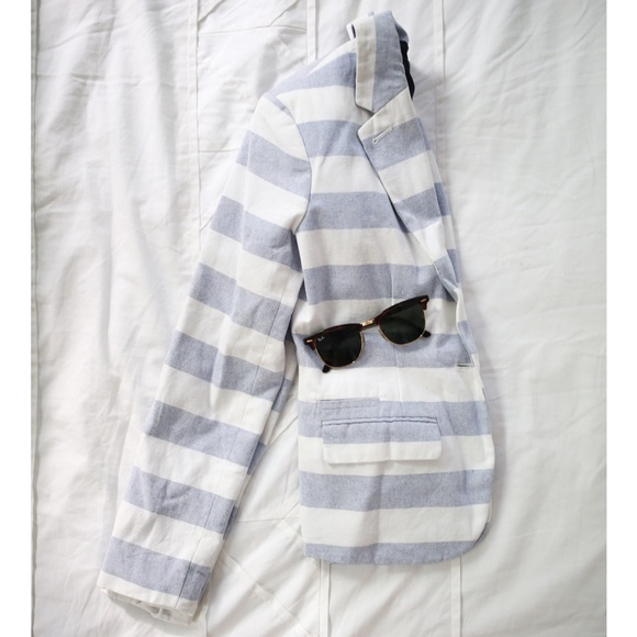 58cde0fdf1d3 Merona Jackets & Coats   Pastel Blue And White Striped Blazer   Poshmark