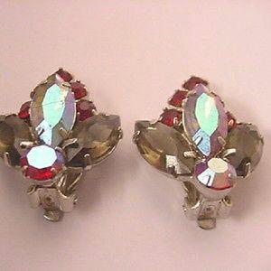 VINTAGE 1950S RED AURORA BOREALIS EARRINGS