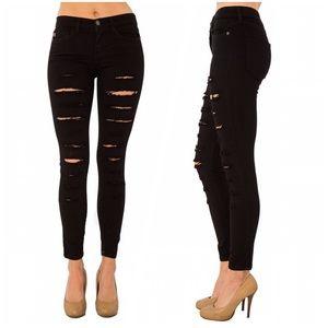 Denim - Black mid rise destroyed skinny jeans! ALMOST GONE