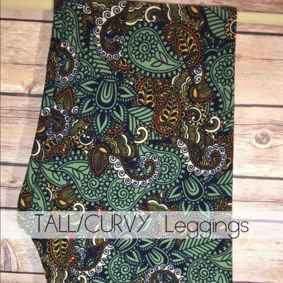 Lularoe Leggings Paisley Teal Brown Orange One Size Women's Clothing
