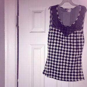 Tops - Black and white checkered mesh tank