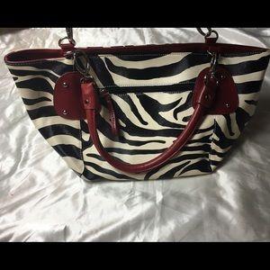 Zebra print bag with red handle satchel handbag