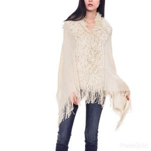 Bellino Clothing Sweaters - 💜 Bellino High Low Furry Beige Poncho