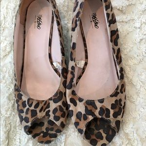 Mossimo Leopard Print Wedges Peep Toe