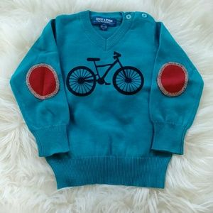 Andy & Evan Other - Andy & Evan boys' blue bicycle sweater