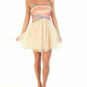 Junior Strapless Dress with Sequined Bodice