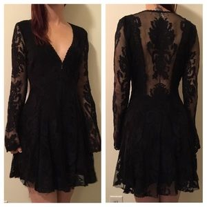 b61028433fc Free People Dresses - FREE PEOPLE BLACK Black Gypsy Skater Dress