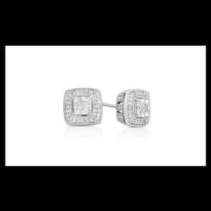 Jewelry - 1/10cttw Diamond Cushion Deco Earrings .925 NWT