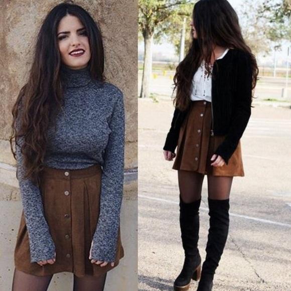 78% off Zara Dresses & Skirts - Zara Brown Suede Skirt from ...