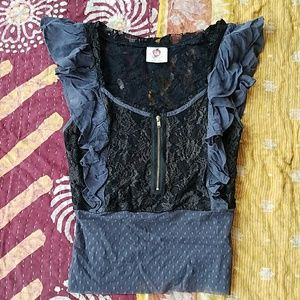 Free People Black & Gray Sheer Lace Ruffle Top 2