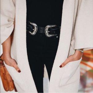 Accessories - Silver double buckle belt