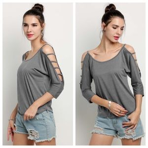 Gray Strappy Cold Shoulder Top